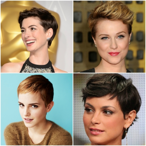 pixie cut collage